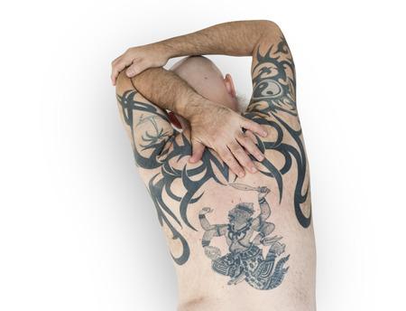 Senior Volwassen Man Achteraanzicht Hanuman Tattoo Spirituele Kunsten