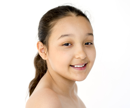 nude little girls: Happiness little girl smiling bare chest studio portrait