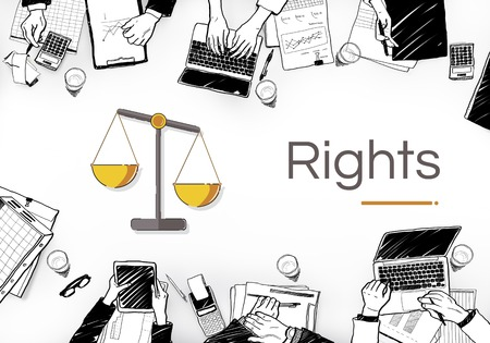 Illustration of justice scale rights and law