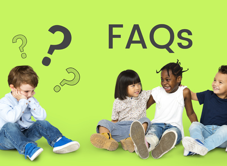 faq's: Children sitting and relaxing network graphic overlay background