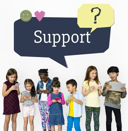 faq's: Kids using digital devices with speech bubble customer support Stock Photo