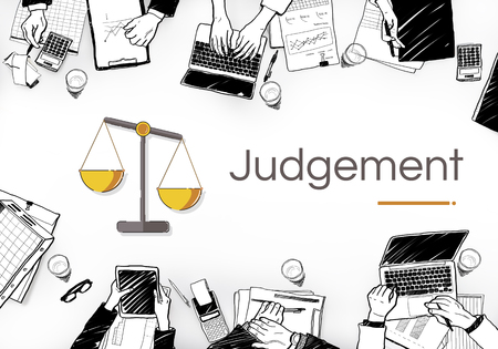 working place: Illustration of justice scale rights and law