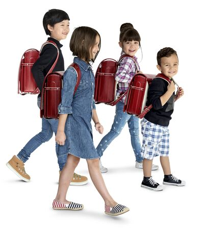 Happiness group of cute and adorable students are back to school Stock Photo