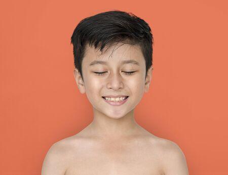 Little Boy Bare Chest Smiling
