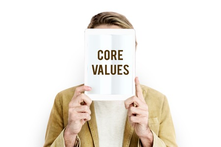 core strategy: Core values word young people Stock Photo