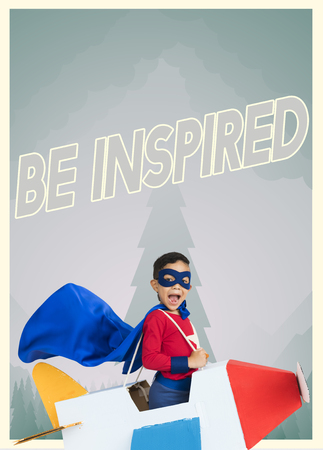 Superhero kid boy with paper plane toy and aspiration word graphic