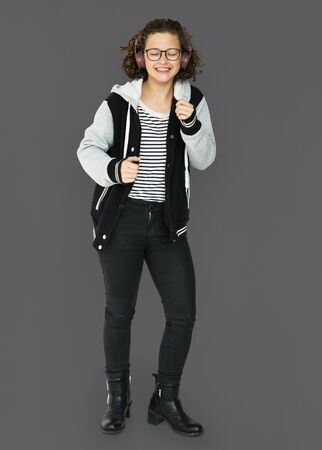 Student girl casual standing with smiling Stock Photo