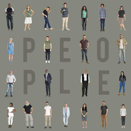 Various of diversity people full body standing with smiling on background Reklamní fotografie