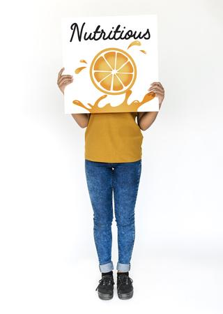 portrait young girl studio: Illustration of nutritious juicy orange on banner