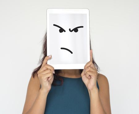 배너에 적극적인 광기 얼굴의 그림 스톡 콘텐츠 - 80855815