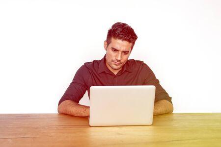 techie: Adult Man Using Laptop Working Stock Photo