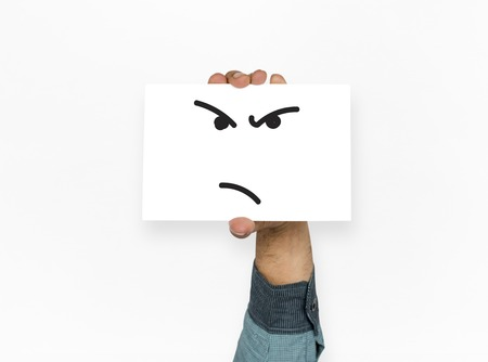 Illustration of agressive madness face on banner Stock Photo