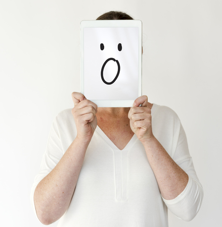 Illustration of wow surprise face on banner Stock Photo