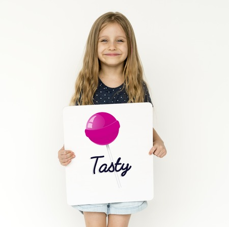 lollies: Girl with illustration of sweet candy lollipop Stock Photo