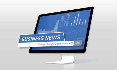 Computer screen with business news concept
