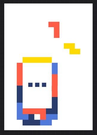 8 bit illustration of mobile phone communication icon Stock fotó