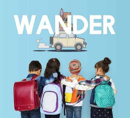 wanderlust: Children with illustration of discovery journey road trip traveling Stock Photo