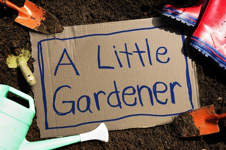 Farming concept with A Little Gardener words 版權商用圖片