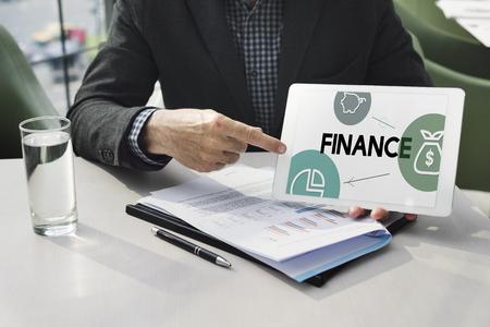 Finance money icons symbols word