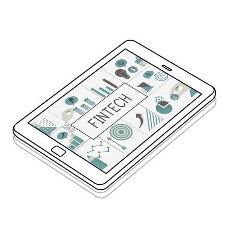 Illustration of financial marketing business plan on digital tablet Imagens