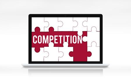 도전 경쟁 단어 퍼즐 조각 스톡 콘텐츠