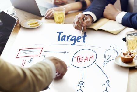 strategize: Business Marketing Plan Strategy Teamwork Organization Stock Photo