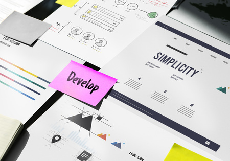 Website Develop Design Template Content Graphic Word Stock Photo