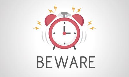 目覚まし時計のアイコン通知のイラスト 写真素材