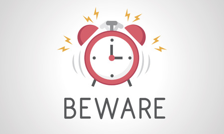 illustration of alarm clock icon notification Banco de Imagens