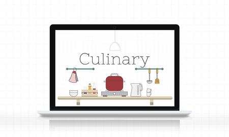 Illustratie van keukengereedschap van de voedsel het kokende op laptop