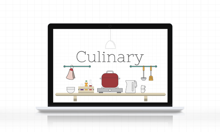 Illustration of food cooking kitchen utensil on laptop