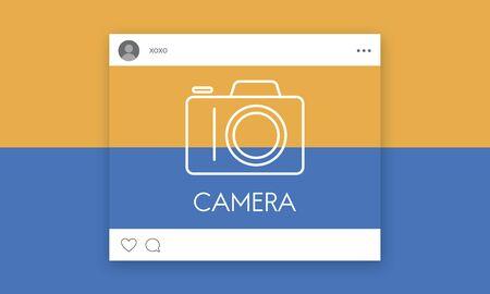 Social media con fotocamera icona grafica Archivio Fotografico - 81011434