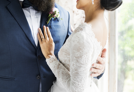 Closeup of Bride and Groom Standing Together Love Stock Photo