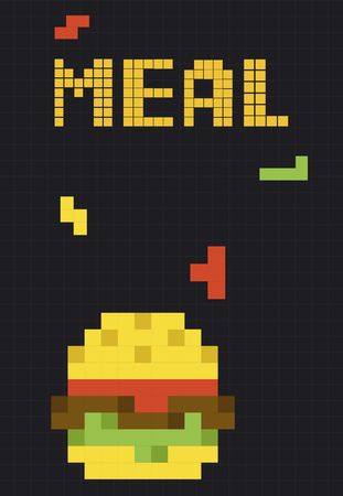 8 bit illustration of tasty burger meal