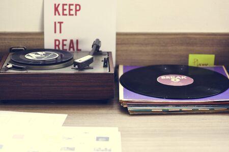 Retro Vinyl Disc Turntable Player Music Entertainment Recreation