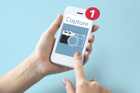 snapping: Illustration of camera collect the memories on mobile phone