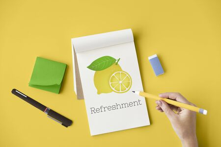 Lemon Refreshment Vegetable Healthy Graphic Stok Fotoğraf