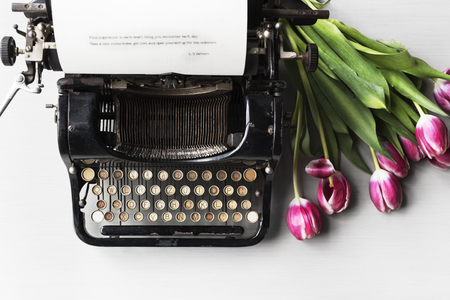 typescript: Retro Typewriter Machine Old Style by Tulips Flower