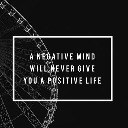 Een negatieve geest zal je nooit positieve levensmotivatie geven Attitude grafische woorden