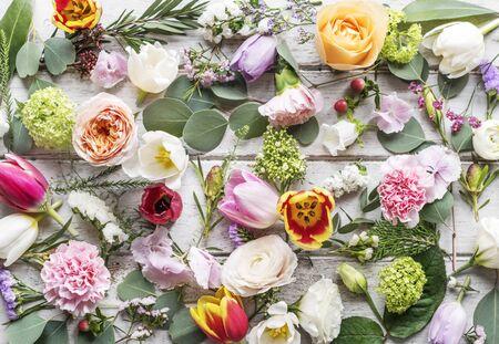 Flower decorative arrangement on wooden table