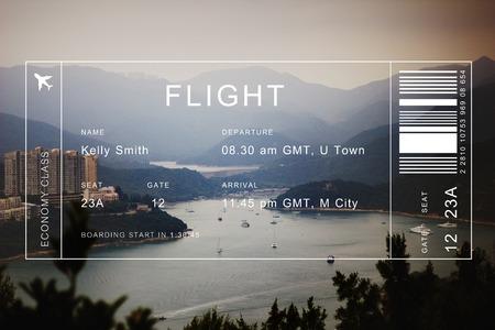 Flight detail banner op lanscape schilderachtige achtergrond