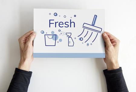 バナーを家のクリーニング サービスのイラスト 写真素材