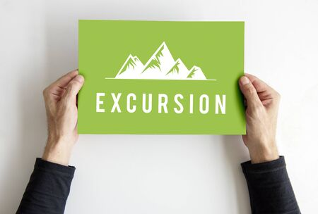 People showing travel adventure outdoors exploration hills graphic icon