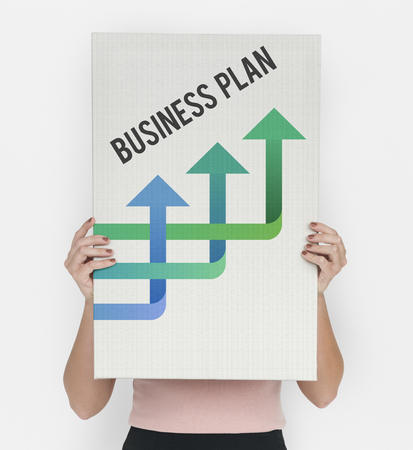 Woman Showing Advertising Banner with Business Word and Arrow Icon