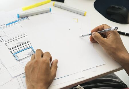 Man Working Planning Documents White Table