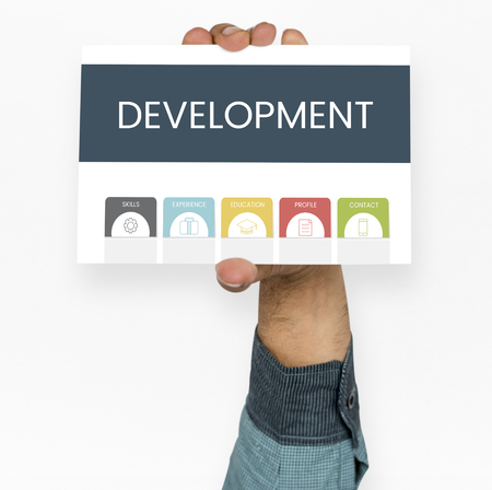 Hand holding placard board with development word