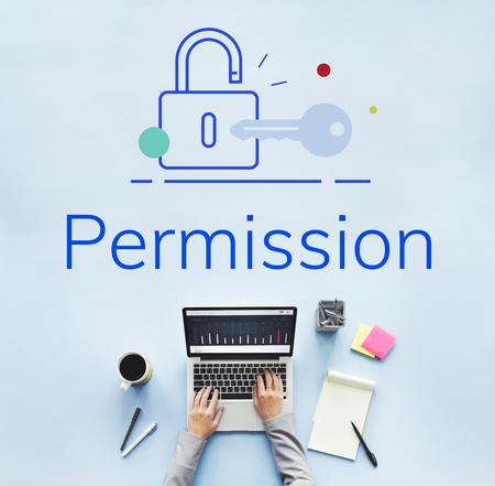 Lock Key Data Protection Security Graphic Standard-Bild