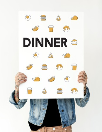 dinner party: Hands holding banner network graphic overlay Stock Photo