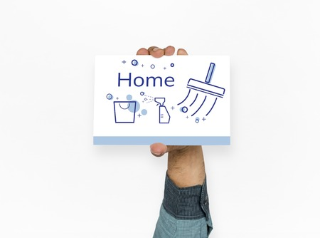 Illustration of home cleaning service on banner Stock Illustration - 81058325
