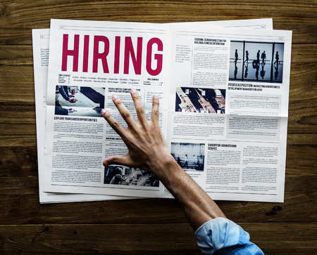Career Hiring Announcment on Newspaper Stock Photo